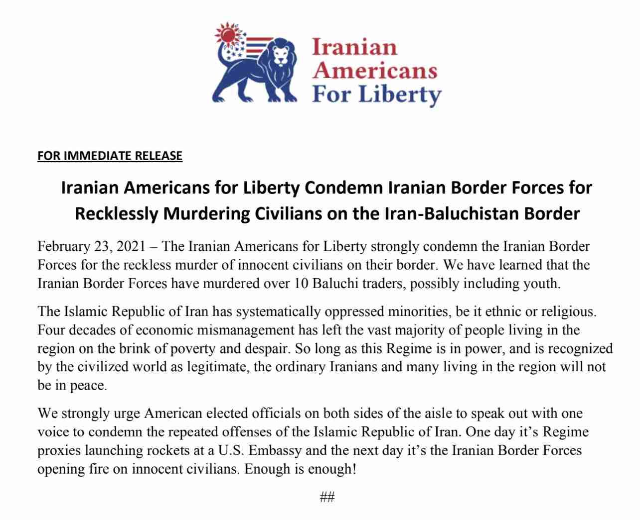 Iranian Americans For Liberty Condemn The Killing Of Civilians On Iran-Baluchistan Border